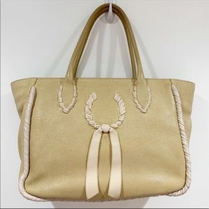 Nina Ricci beige nude leather large tote bag